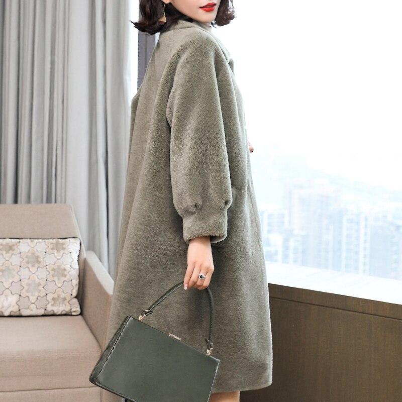 Abrigo de piel Real, abrigo largo de lana de oveja, abrigo con un solo botón para invierno 2020, chaqueta de lana con capucha, Parka, prendas de vestir LX2424