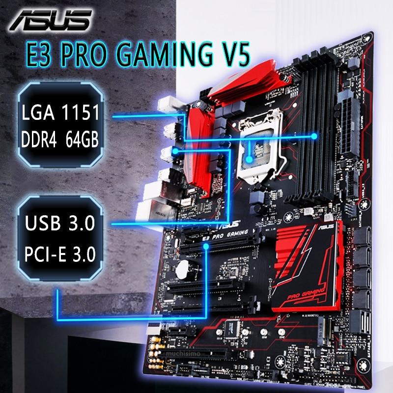LGA 1151 Asus E3 PRO GAMING V5 Motherboard Intel C232 DDR4 USB2.0 ATX DDR4 2133MHz CrossFireX Intel C232 Placa-mãe 1151 Used