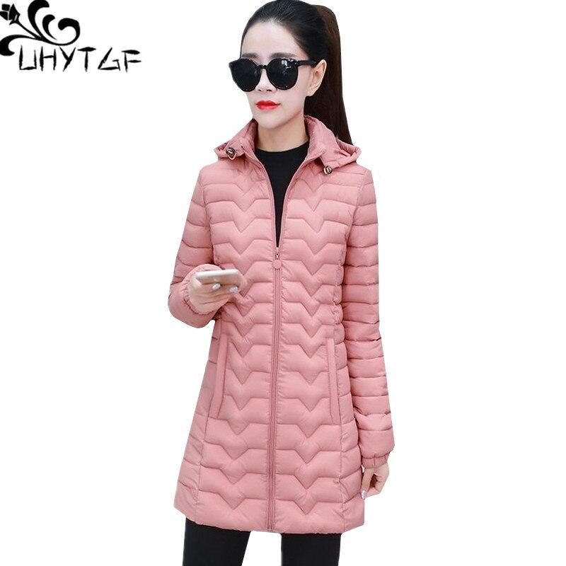UHYTGF invierno abajo chaqueta parkas mujer delgada y ligera abajo de algodón 5XL tallas grandes prendas de abrigo con capucha casual mujer chaqueta 777