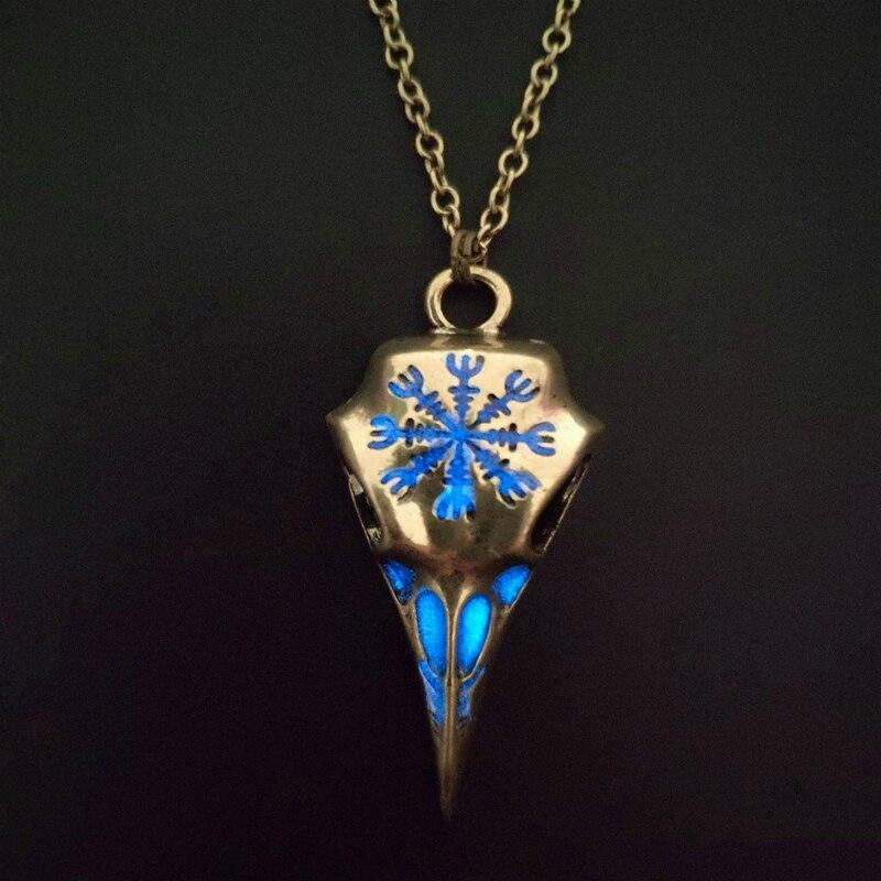 Винтажная, серебряная, медная светящаяся подвеска в виде тотема в стиле панк, череп ворона, ожерелье, светящаяся в темноте Женская и мужская цепочка, ожерелье, ювелирное изделие