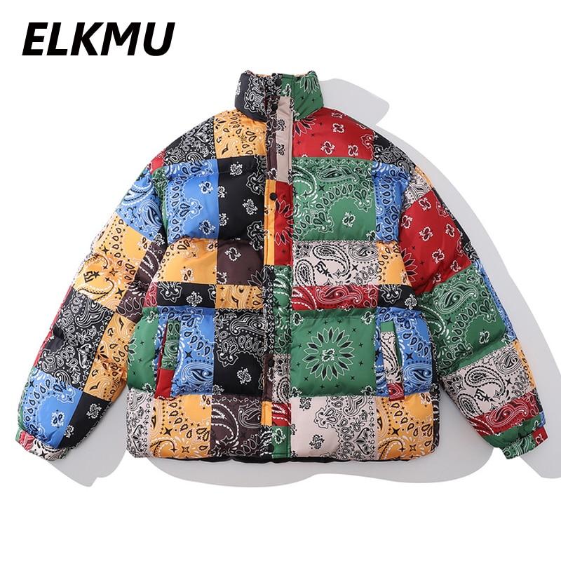Бандана ELKMU HM644 Мужская, стеганая куртка с принтом пейсли, теплая зимняя парка, уличная мода, Харадзюку