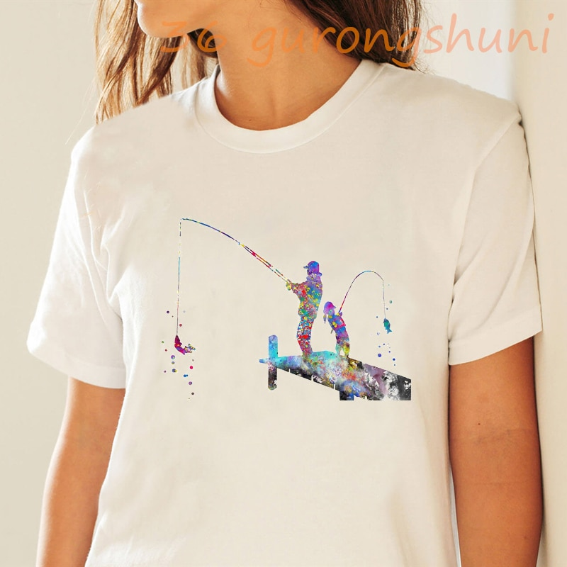 2020 verano go fishing estampado de acuarela camiseta mujer divertida vogue camiseta streetwear deportes manga corta tops camisetas ropa femenina