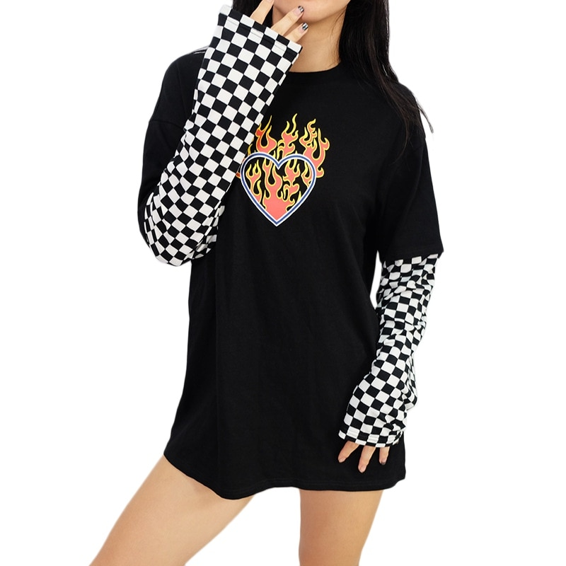 Camiseta negra de otoño para mujer, camiseta a cuadros informal a la moda para mujer, Camiseta larga con cuello redondo y manga larga