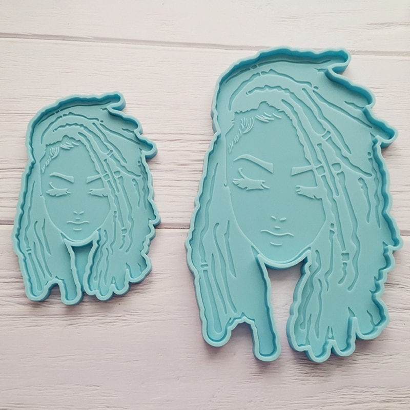 Dread Girl Silicone Mold Female Head Resin Mold Silicone Coaster Mold DIY Craft R2LE