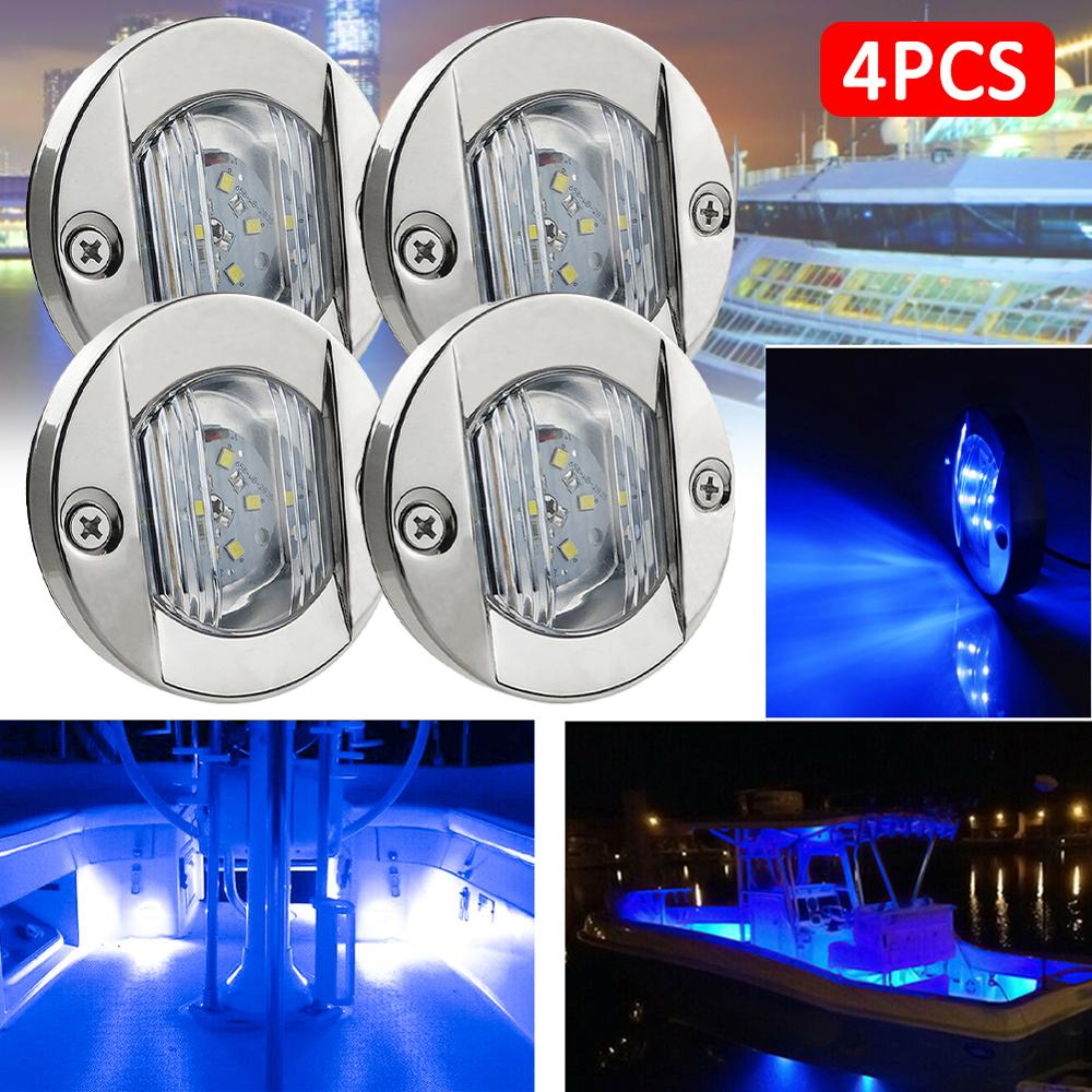 DC 12V Marine Boat Transom RV Yacht 6 LED Stern Signal Light Round Stainless Steel Cold LED Tail Lamp Yacht Accessories Waterpro white led marine boat yacht navigation light square stainless steel signal lamp waterproof dc 12v