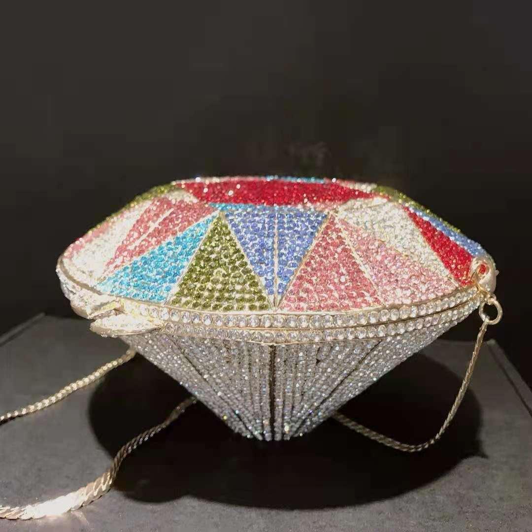 سيدة ملونة حجر الراين ماسك من الكريستال النساء براثن حقائب فاخرة أنيقة السيدات الماس شكل الإناث حفلة موسيقية حقيبة مسائية