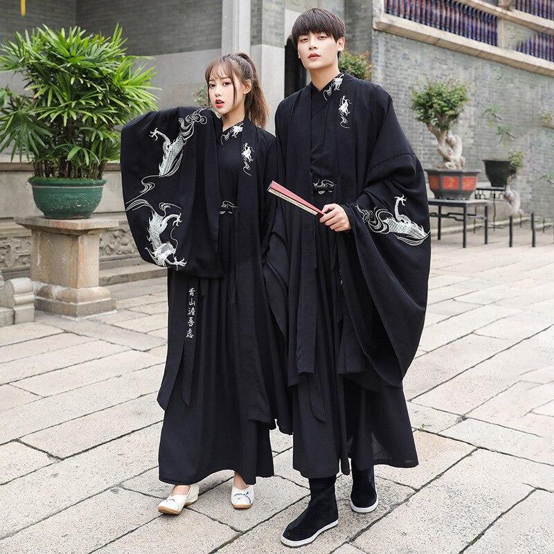 Traje diario Hanfu de talla grande para hombres y mujeres, túnica negra antigua de manga larga, ropa de clase de primavera y verano