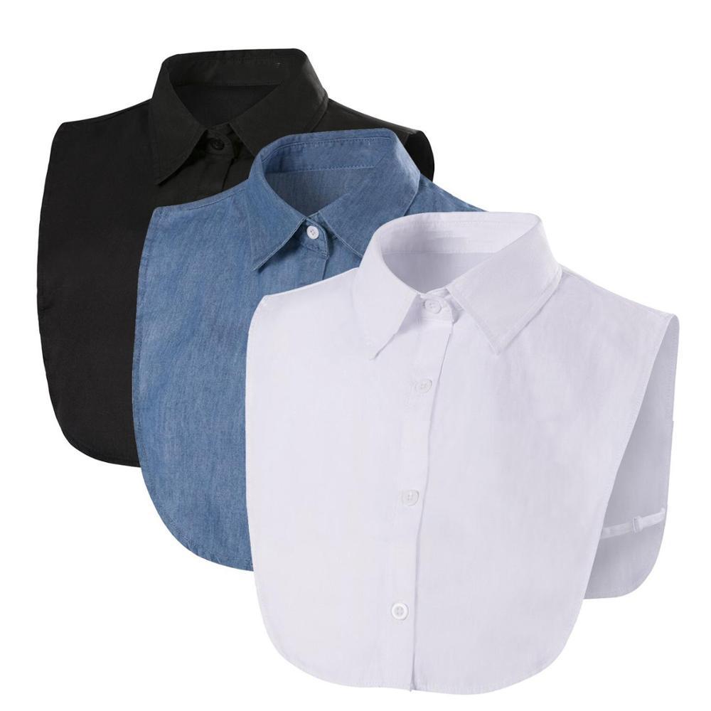 Fake Collar For Shirt Detachable Collars Solid Shirt Lapel Blouse Top Men Women Black White Clothes Shirt Accessories DropShip
