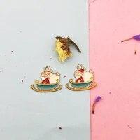 10pcs 2023mm santa claus snowmobile charms enamel pendant gifts elk earrings decor floating jewelry diy material yz700