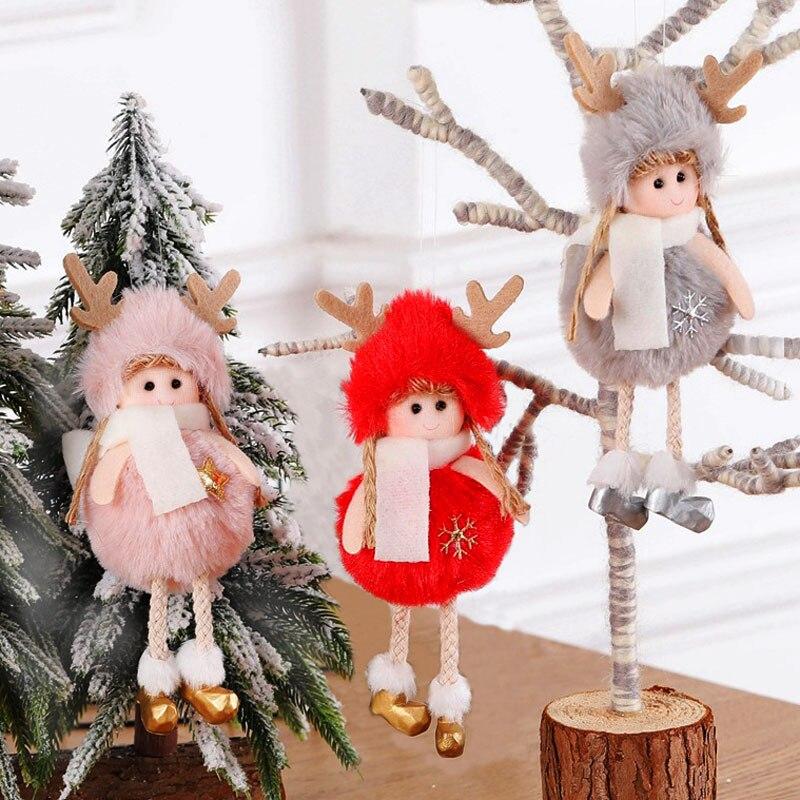 2020 New Year Gift Latest Christmas Cute Silk Plush Angel Dolls Xmas Tree Pendant Noel Christmas Decoration for Home 2019 Deco