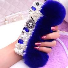Luxe femme moelleux hiver chaud laine lapin cheveux strass diamant couverture pour Samsung a50 a70 s8 s9 a40 a20 s10 plus coque de téléphone