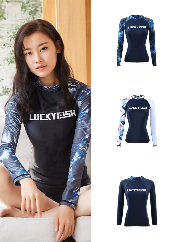 LUCK YFISH Women Rash guard Swimwear Long Sleeve Rash Guard Surfing Top Colorblock Swimsuit Bike Biking Shirts UPF50+ Beach Wear