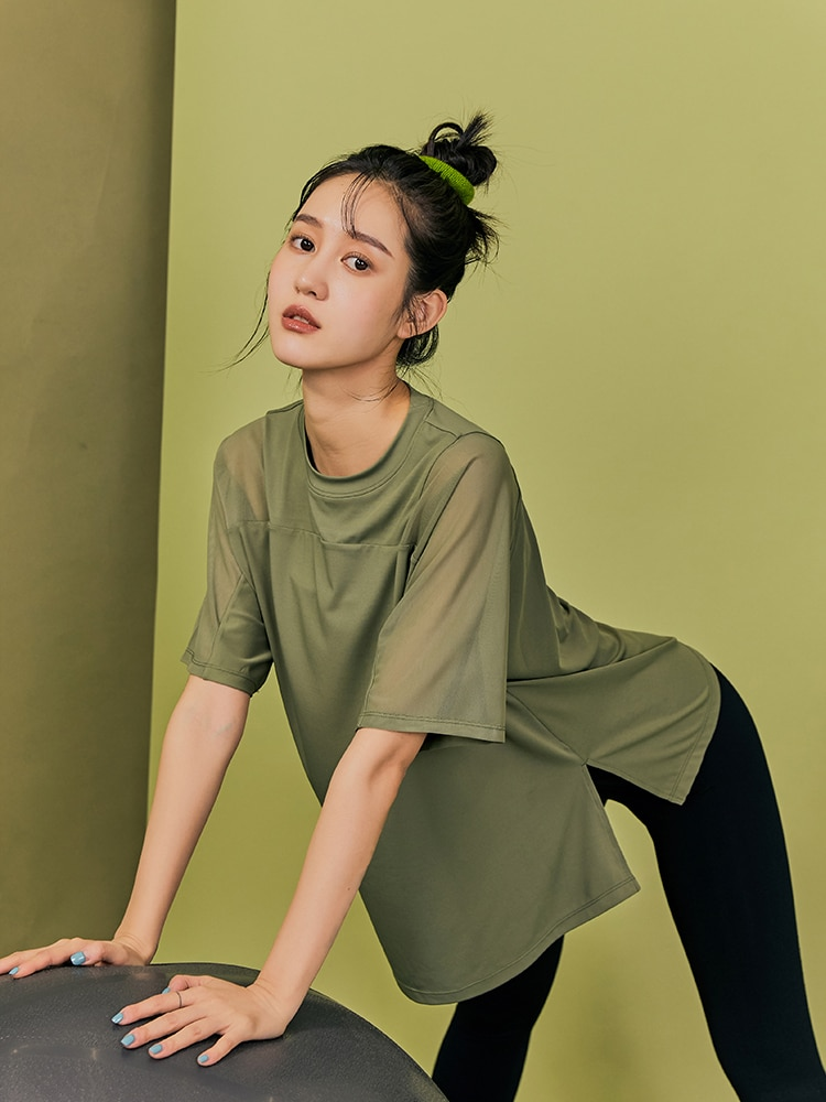Runaway Loli half sleeve long yoga clothes women's size quick-drying T shirt loose running blouse