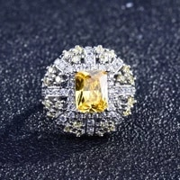 luxury square shape wedding rings for women inlaid shining yellow crystal zircon elegant womens ring wedding engagement jewelry