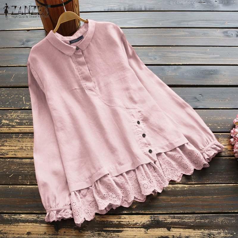 Moda botão lapela túnica feminina primavera blusa zanzea 2020 casual manga comprida blusas femael rendas stiching camisas plus size