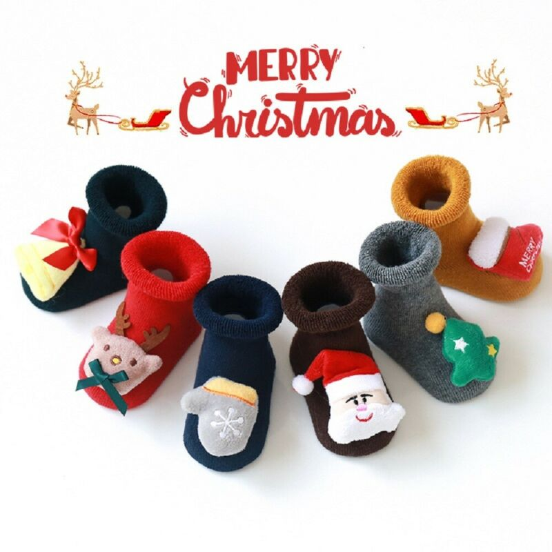 2019 New 0-3Years Cute Baby Christmas Stockings Cotton Terry Santa Floor Socks Silicone Non-slip Baby Sock