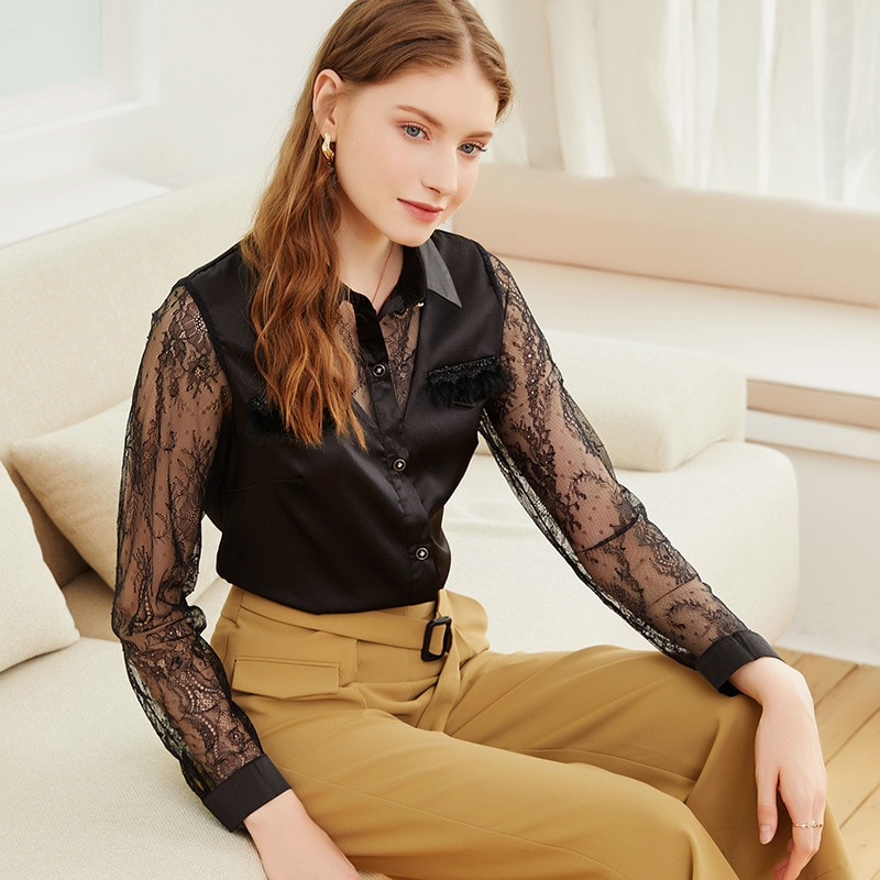 2021 spring and autumn new comfortable temperament lace collage Fashion Top Long Sleeve Lapel blouse