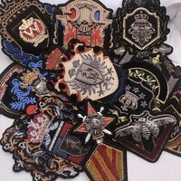 embroidery metal patch embroideried beetle crown eagle lion deer patches applique clothes jacket badges for clothing sc 2718