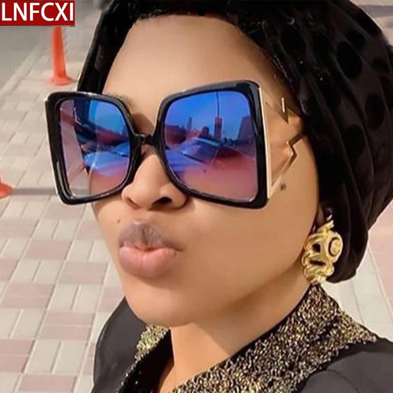 LNFCXI 2020 New Hollow Oversize Square Sunglasses For Women Fashion Bow Shape Bee Sun Glasses Female Gradient Black Big Shades