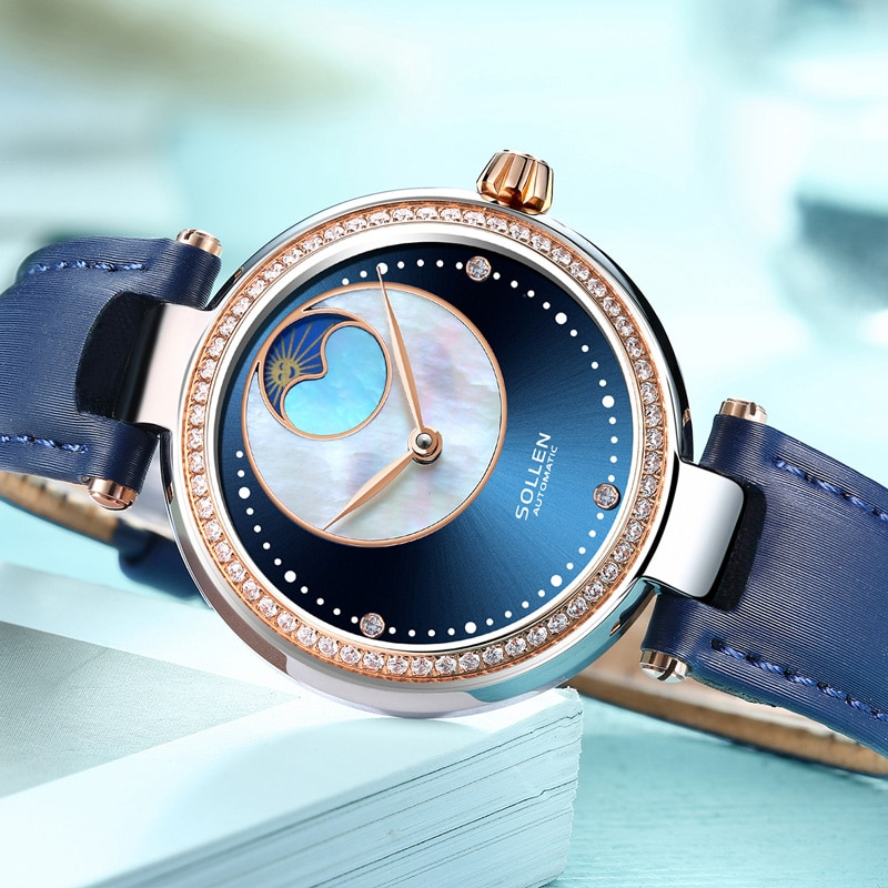 SOLLEN Luxury Brand Women Automatic Watches Moon Phase Leather Stainless Steel Lady Mechanical Wristwatch Female Clock Gift 410 enlarge