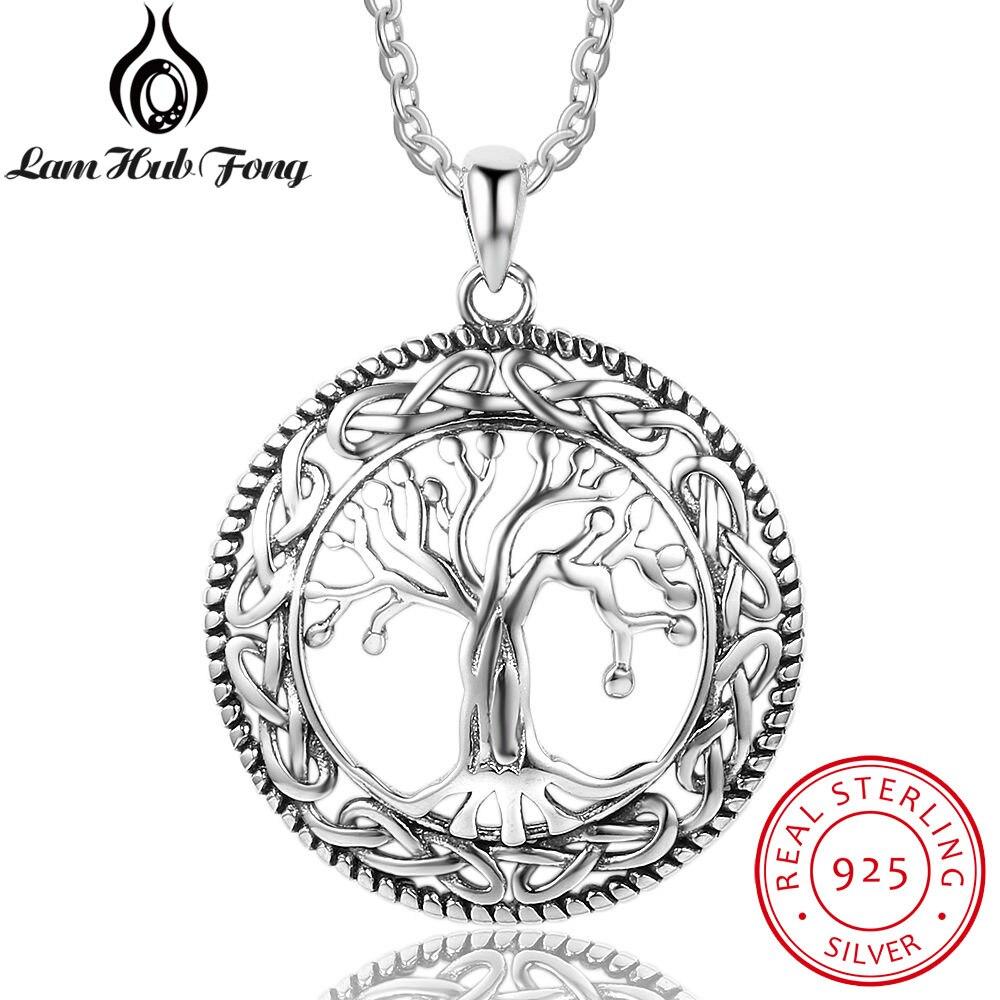 Vintage 925 Sterling árbol de plata de la vida redondo colgante collar mujeres joyería de plata regalo de cumpleaños para la abuela (Lam Hub Fong)