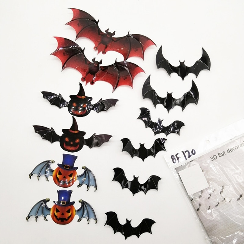 69HF 12pcs 3D Bats Sticker Halloween Decorations Waterproof Wall Decal Stickers for Home Party Supplies