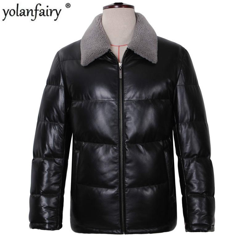 YOLANFAIRY-سترة جلدية أصلية للرجال ، معطف من جلد الغنم الحقيقي مع ياقة من الفرو والصوف ، شتوي دافئ وسميك ، 13-H04B # MF405