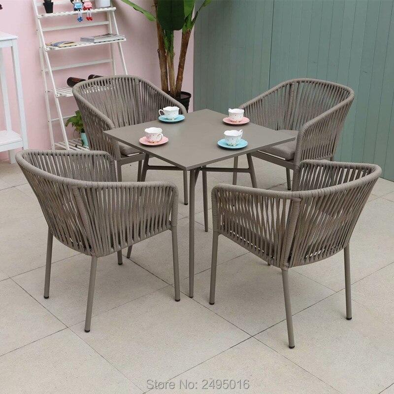 5 предметов плетеная веревочная мебель для внутреннего дворика обеденный набор