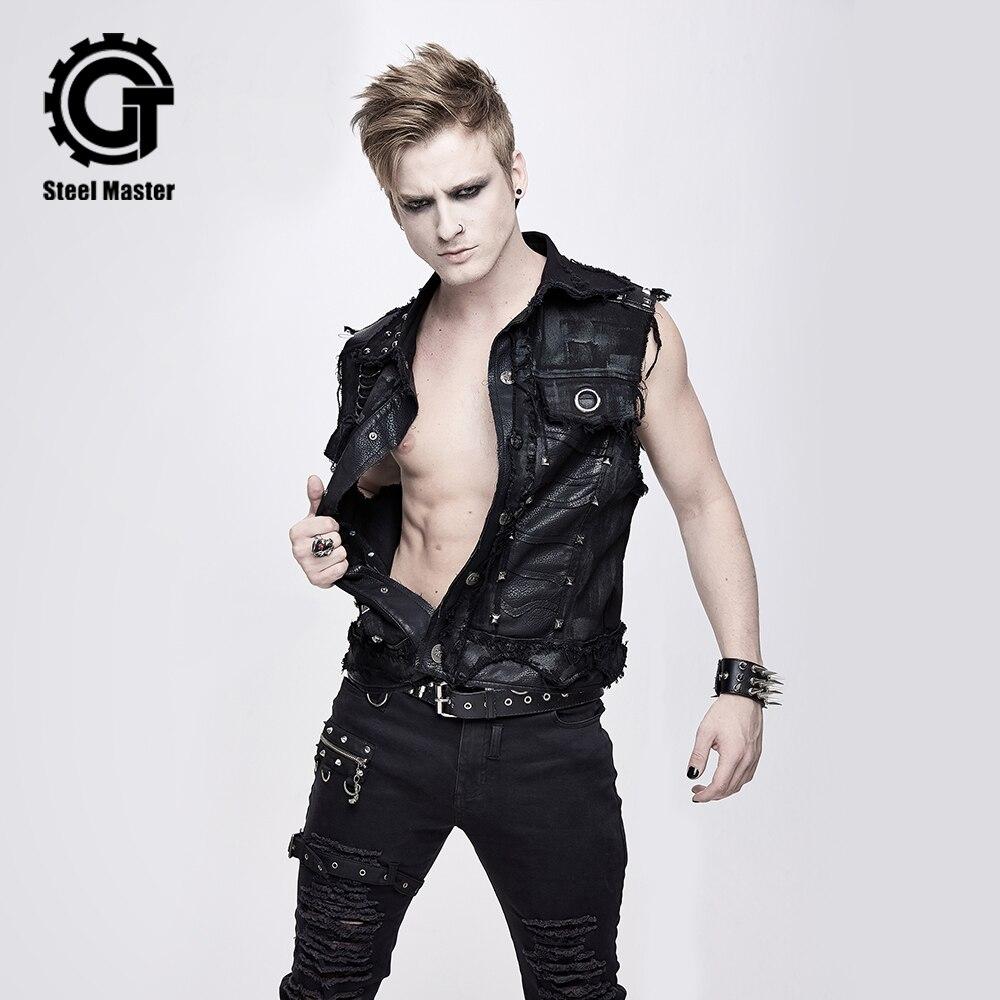 2020 Devil Fashion Men's Black Punk Vest Party Rock Leather Button Lapel Retro Vest