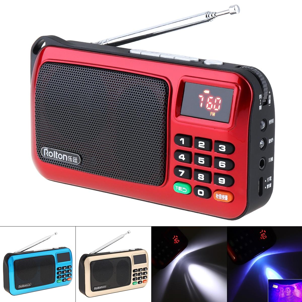 Tarjeta TF portátil USB Mini FM Elder Radio altavoz con pantalla LCD Subwoofer MP3 reproductor de música antorcha lámpara verificar para PC auricular