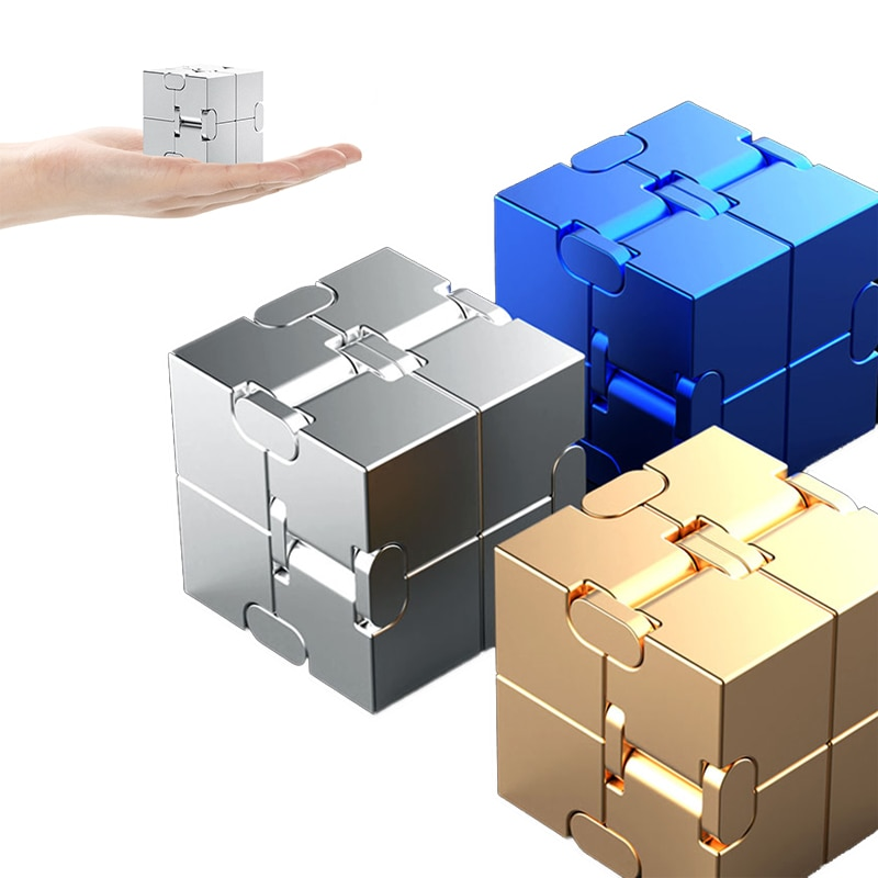 Mini Stress Relief Toy Premium Metal Infinity Cube Portable Decompresses Relax Toys Best Gift Toys for Children