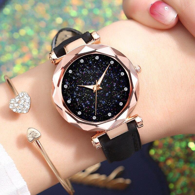 Moda topo da marca de luxo céu estrelado mulheres relógios pulso quartzo couro relógio moderno relógio pulso feminino orologio donna