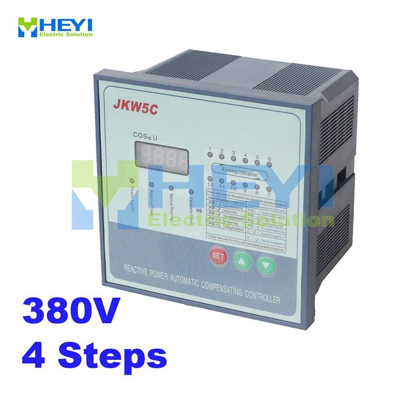 وحدة تحكم في عامل الطاقة JKW5C ، 4 خطوات ، 380 فولت ، وحدة تحكم تعويض أوتوماتيكية للطاقة التفاعلية