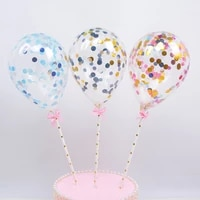 sequined balloon cake insert confetti party sequins balloon happy birthday cake decor cake plug card 5 inch creative cake topper