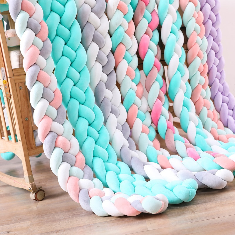 2 meters 4 strands twist braid children's room knotted bed fence baby bumper fence bed fence woven strip