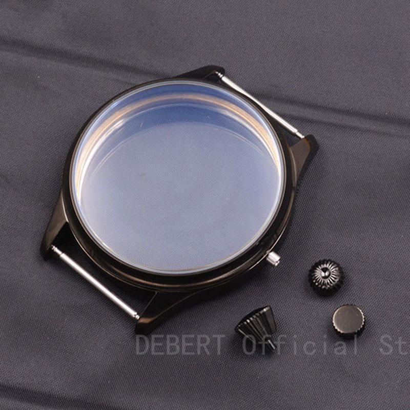 Debert-علبة ساعة معقم ، حقيبة يد ، أسود ، مجموعة ETA 6497 6498 ، Seagull st3600 ، 3 أنواع من التاج ، 44 مللي متر