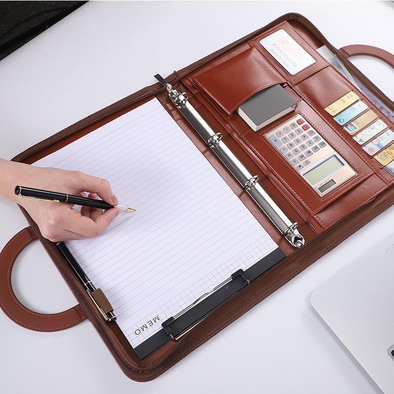 Деловая кожаная многофункциональная сумка A4 на молнии, оптовая продажа, Портативная Сумка для документов, портфолио с калькулятором