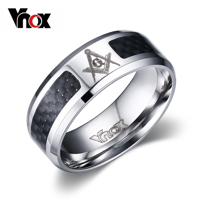 Vnox Masonic Men Ring Stainless Steel & Carbon Fiber 8mm Punk Male Jewelry US size 4 5 6 7 8 9 10 11 12