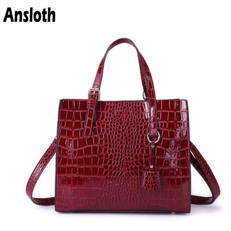 Ansloth High Capacity Crocodile Pattern Handbags Female Design Luxury PU Leather Shouler Bags For Women Crossbody Fashion HPS966