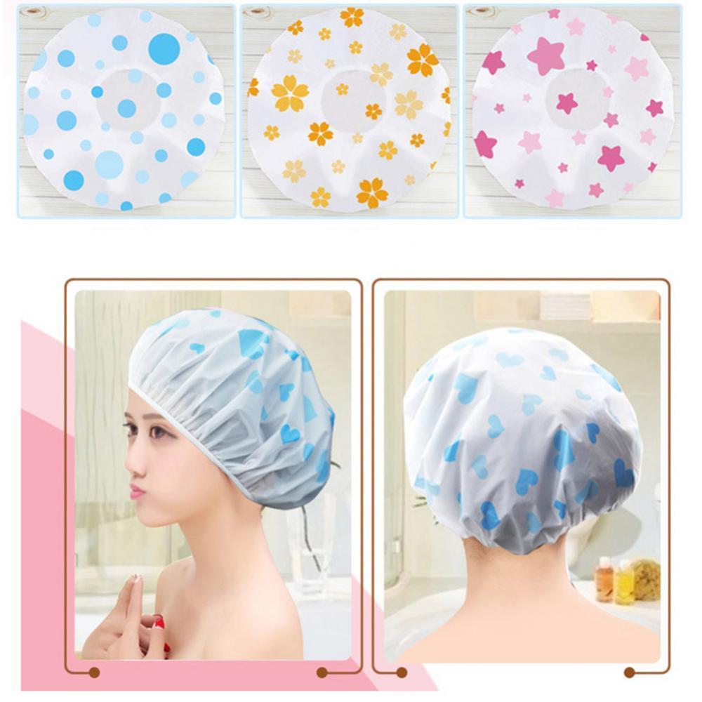 1pcs EVA bath hair cover Women Cartoon Heart Lip Flower Print Waterproof Elastic Bathing Hat Shower Cap Bathroom Hat Random hot