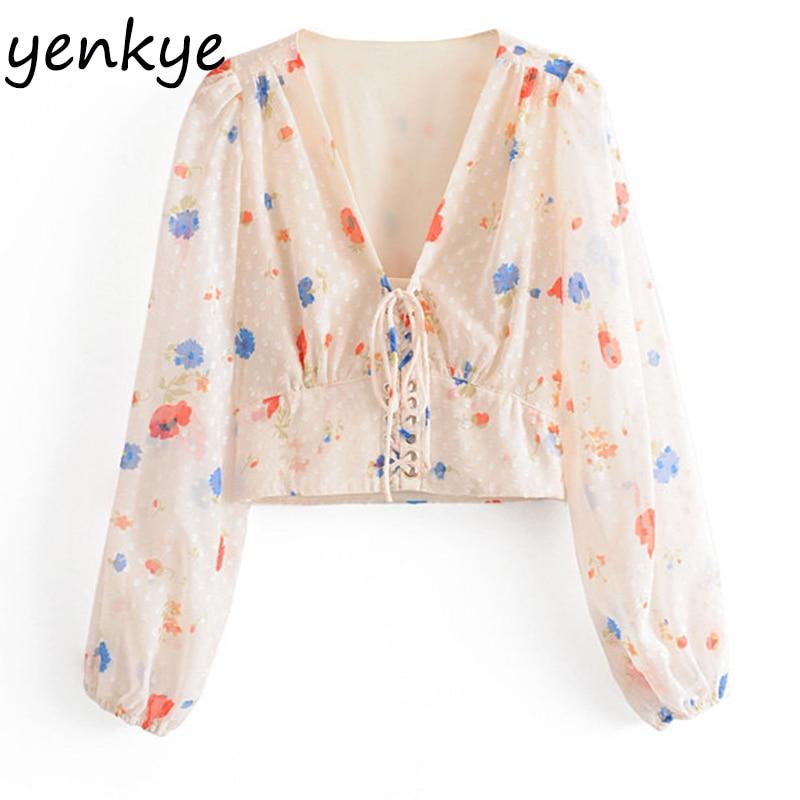 Sweet Women  Front Drawstring  Floral Print Crop Top Lantern Sleeve V Neck Fashion Chiffon Blouse Shirt chemise femme OMZZ6843