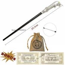 Baguette magique en métal Lucius Malfoy avec billets Hogwart et 1 sac de monnaie sans boîte