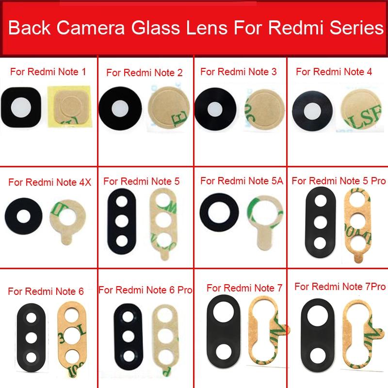 Lente de Cristal de la cámara trasera para Xiaomi Redmi Note 2 3 4X5 5A 6 7 Pro cámara trasera reparación de la cubierta de la Cámara Grande de la Lente de Cristal