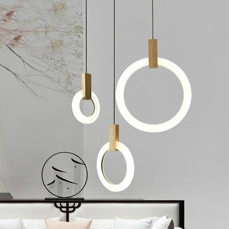 NordicModern الخشب الحقيقي قلادة LED أضواء الموضة ديكور مصباح معلق السرير الممر الدرج و شرفة صغيرة الإضاءة