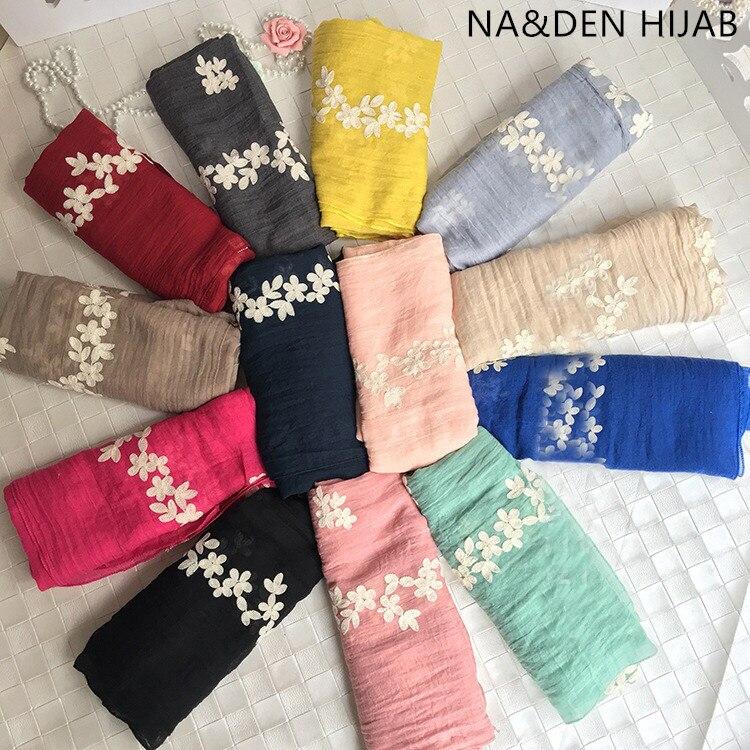 De moda bordado de lujo de las mujeres liso bufandas musulmanas hijabs vueltas pañuelos cabeza chales eid bandana 10 unids/lote envío rápido