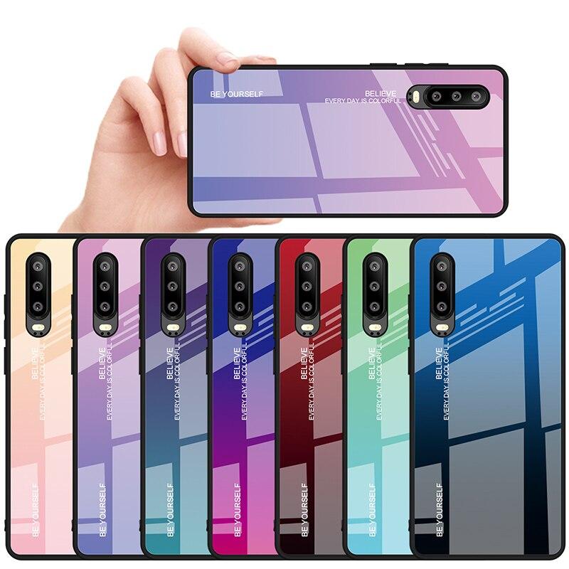 Градиентный Радужный чехол для телефона Huawei P30 Pro P Smart, 2019, витражный чехол из закаленного стекла для Huawei P20 Lite Nova 4 4E 3 3i 3E