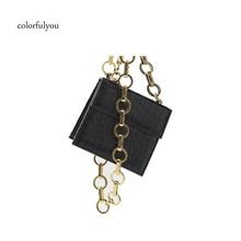 Bolso bandolera de moda con diseño de cocodrilo para mujer Mini bolso de mano con solapa Cadena de anillo para mujer bolso de hombro de cuero de PU