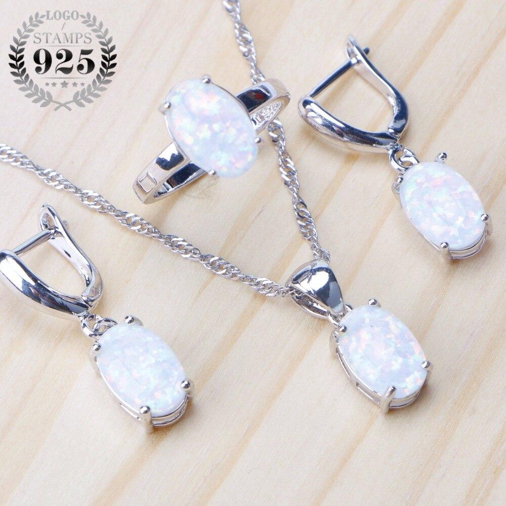 925 de plata esterlina de piedra de ópalo joyería nupcial de la boda de pendientes para las mujeres joyería colgante Set anillo collar caja de regalo
