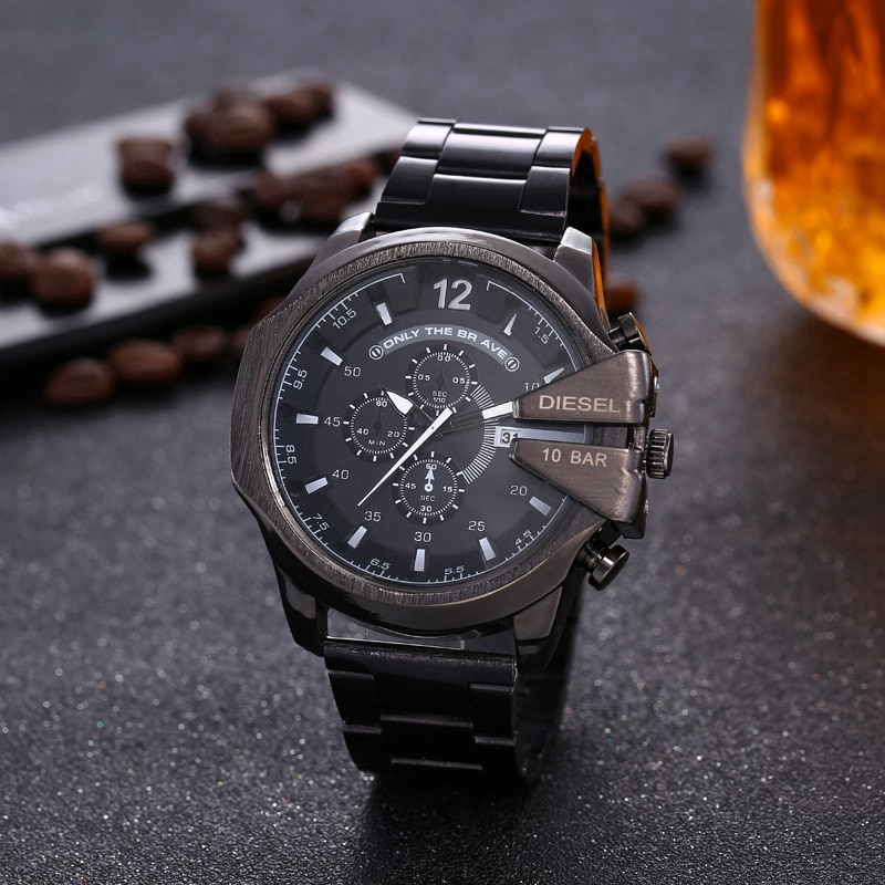 Luxury DZ Watch Mens Sports Multifunction Six-Hand Big Dial Waterproof Digital Business Leather Watches Red Male WristWatch Hour
