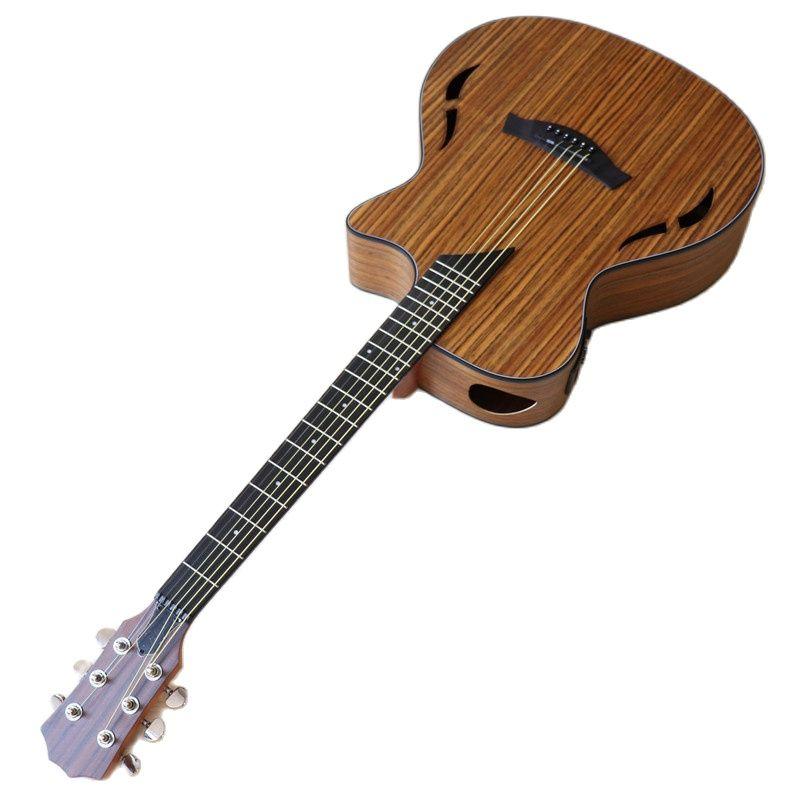 جيتار كهربائي صوتي 40 بوصة من Hickory مصنوع من 6 أوتار جيتار صوتي لون طبيعي جيتار شعبي مع فتحة صوت مزدوجة